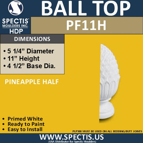 "PF11H Post Cap Half Pineapple Shape 2 3/16""D X 11""H X 4 1/2""B"