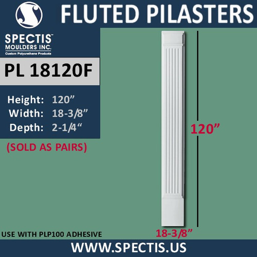 "PL18120F Fluted Pilasters from Spectis 18 3/4"" x 120"""