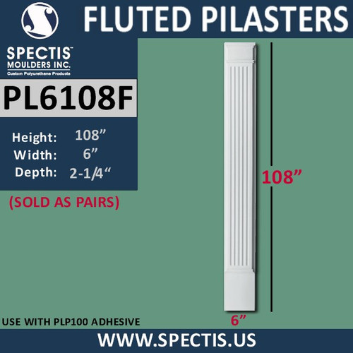 "PL6108F Fluted Pilasters from Spectis Urethane 6"" x 108"""