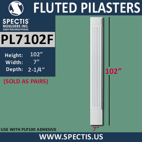 "PL7102F Fluted Pilasters from Spectis Urethane 7"" x 102"""