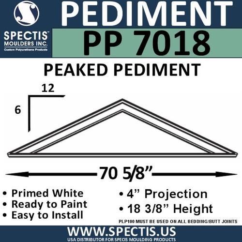 """PP7018 Peaked Pediment for Door 70 5/8"""" x 18 3/8"""""""