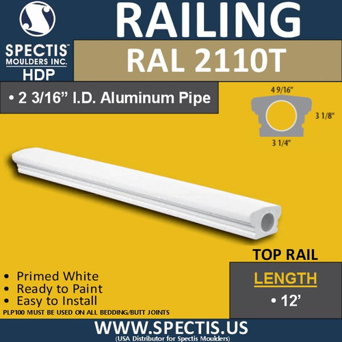 "RAL2110T 3 1/4"" Wide x 12' Long Top Hand Railing"