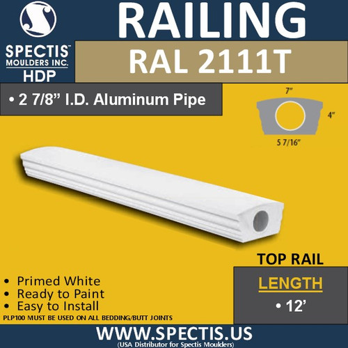 "RAL2111T 5 7/16"" Wide x 12' Long Top Hand Rail"