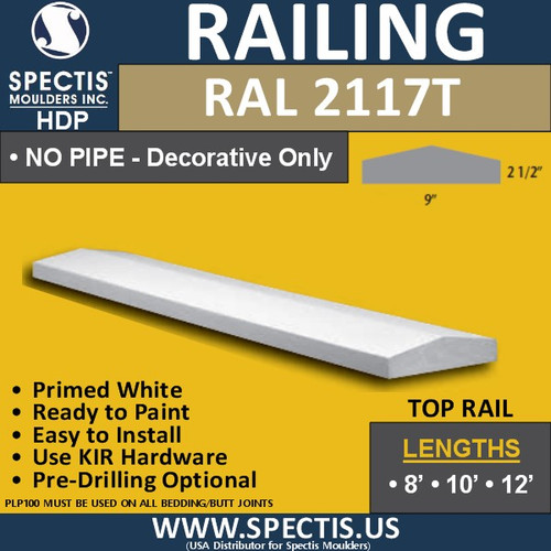 "RAL2117T 9"" Wide x 12' Long Decorative Top Hand Railing"