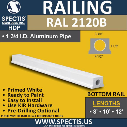 "RAL2120B 3 3/4"" Wide Smooth Finish Bottom Rail in 8'-10'-12'"