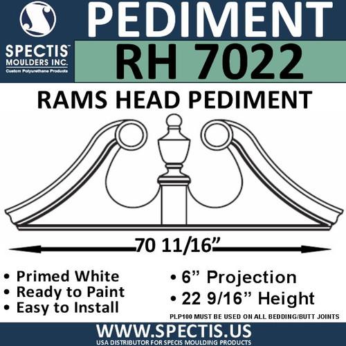 """RH7022 Rams Head Window/Door Pediment 70 11/16"""" x 22 9/16"""""""