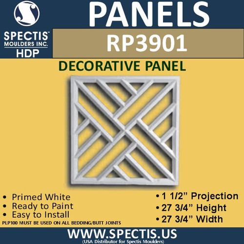 "RP3901 Decorative Square Panel 1 1/2""P X 27 3/4"""