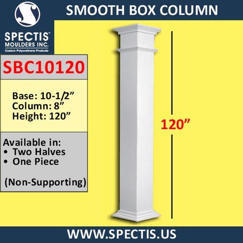 "SBC10120 Smooth Box Decorative Column 8"" x 120""H"