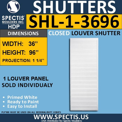SHL-1 3696 Polyurethane Shutter 1 Closed Louver 36 x 96