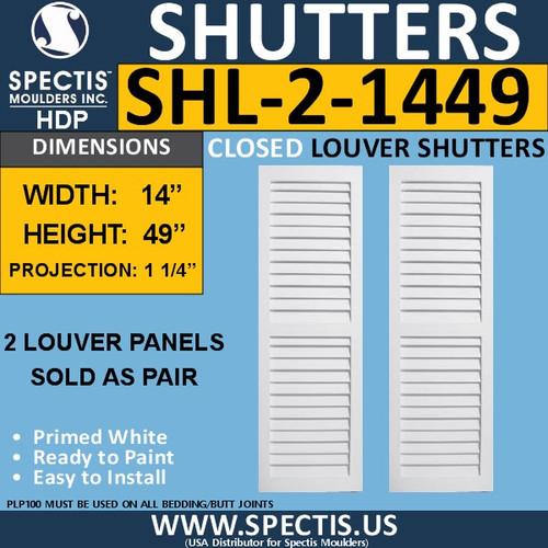 SHL-2 1449 2 Panel Closed Louver Shutters 14 x 49