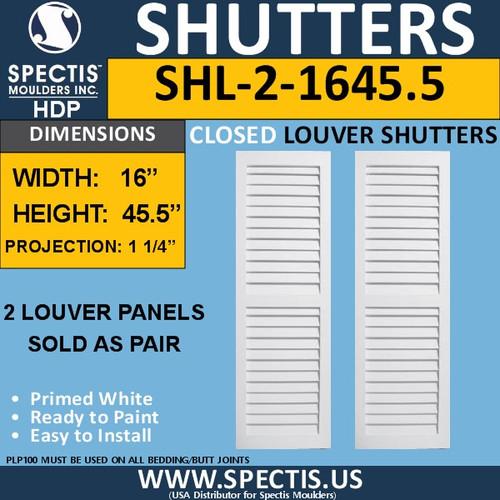 SHL-2 1645.5 2 Panel Closed Louver Shutters 16 x 45.5