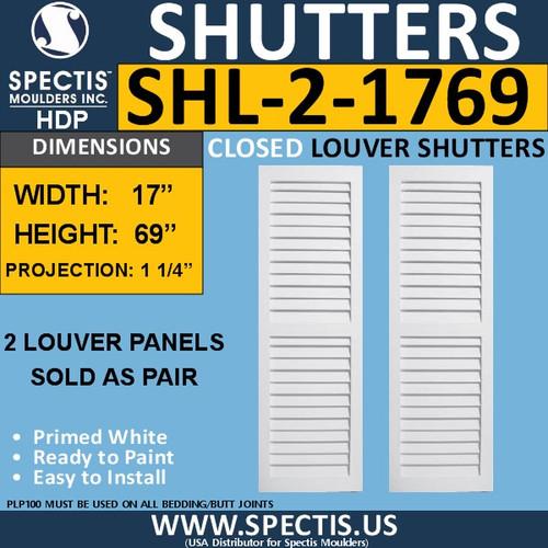 SHL-2 1769 2 Panel Closed Louver Shutters 17 x 69