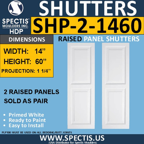 SHP-2 1460 Polyurethane Shutters - 2 Raised Panels 14 x 60