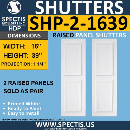SHP-2 1639 Polyurethane Shutters - 2 Raised Panels 16 x 39