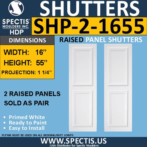SHP-2 1655 Polyurethane Shutters - 2 Raised Panels 16 x 55