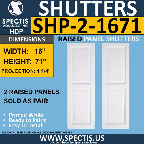 SHP-2 1671 Polyurethane Shutters - 2 Raised Panels 16 x 71