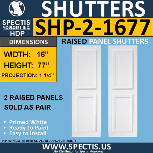 SHP-2 1677 Polyurethane Shutters - 2 Raised Panels 16 x 77