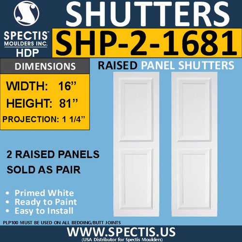 SHP-2 1681 Polyurethane Shutters - 2 Raised Panels 16 x 81