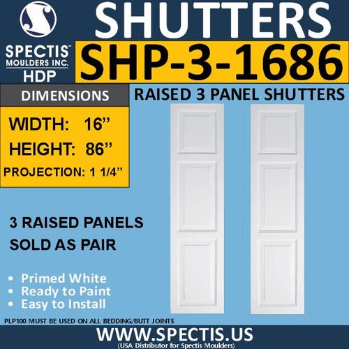 SHP-3 1686 Polyurethane Exterior Shutters - 3 Raised Panels 16 x 86