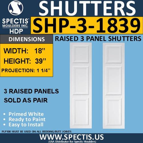 SHP-3 1839 Polyurethane Exterior Shutters - 3 Raised Panels 18 x 39