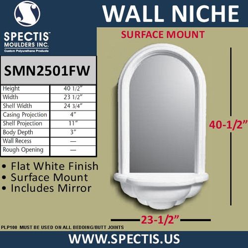 "SMN2501FW Surface Mount Woodgrain Wall Niche with Mirror 23 1/2"" x 40 1/2"""