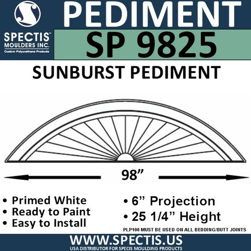 "SP9825 Sunburst Pediment 99 1/4"" x 25 1/4"""