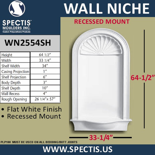 "WN2554SH In-Wall Flat White Finish with Shell Top 33 1/4"" x 64 1/2"""