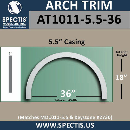 "AT1011-5.5-36 Flat Trim Urethane Door/Window Arch 5.5"" x 36"" ID"