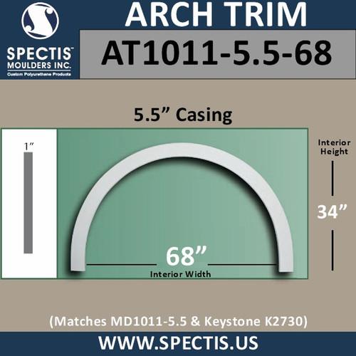 "AT1011-5.5-68 Flat Trim Urethane Door/Window Arch 5.5"" x 68"" ID"