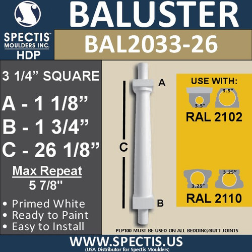 """BAL2033-26 Smooth Tapered Baluster 3 1/4"""" x 26 1/8"""""""