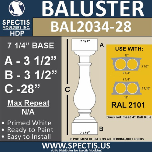 """BAL2034-28 Spectis Baluster or Spindle 7 1/4"""" x 28"""""""