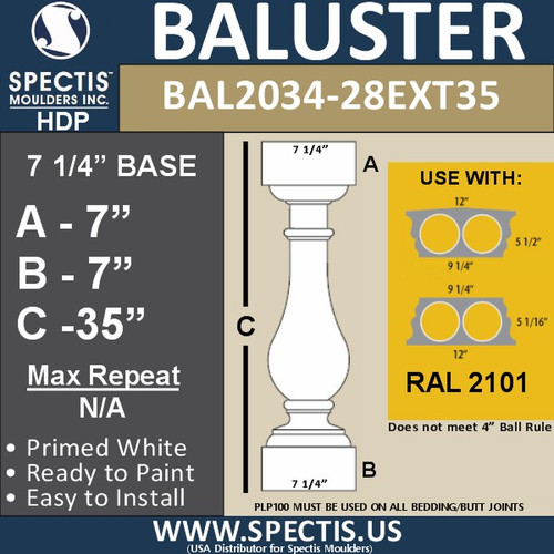 "BAL2034-28EXT35 Spectis Baluster or Spindle 7 1/4"" x 35"""