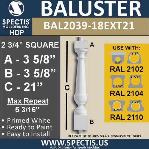 """BAL2039-18EXT21 Spectis Baluster or Spindle 2 3/4"""" x 21"""""""