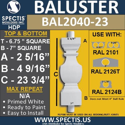 "BAL2040-23 Spectis Square Shape Baluster 6 3/4"" x 23 3/4"""