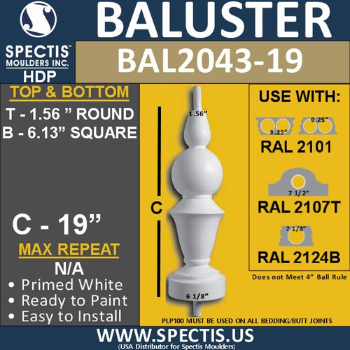 "BAL2043-19 Large Urethane Baluster or Spindle 6 1/8"" x 19"""