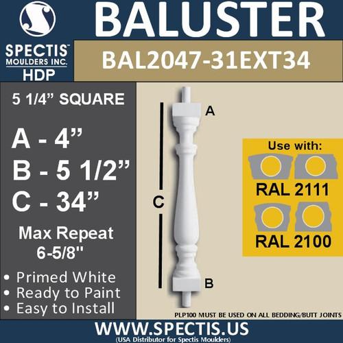"BAL2047-31EXT34 Spectis Railing Baluster 5 1/4"" x 34"""