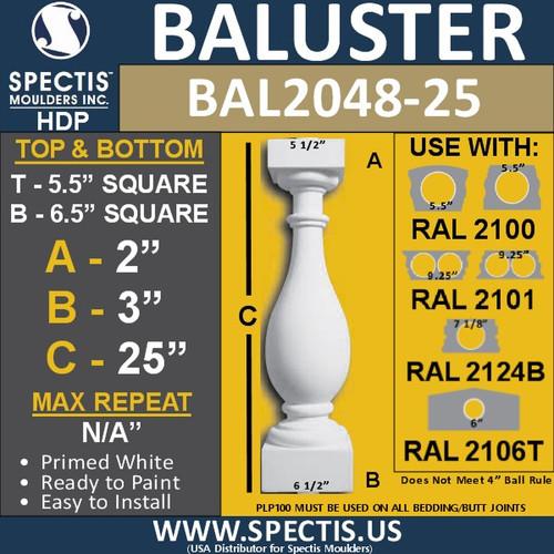 "BAL2048-25 Spectis Urethane Railing Baluster 5 1/2"" x 25"""