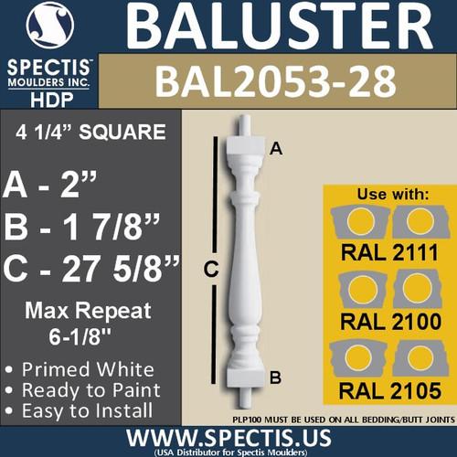 "BAL2053-28 Spectis Urethane Railing Baluster 4 1/4"" x 27 5/8"""