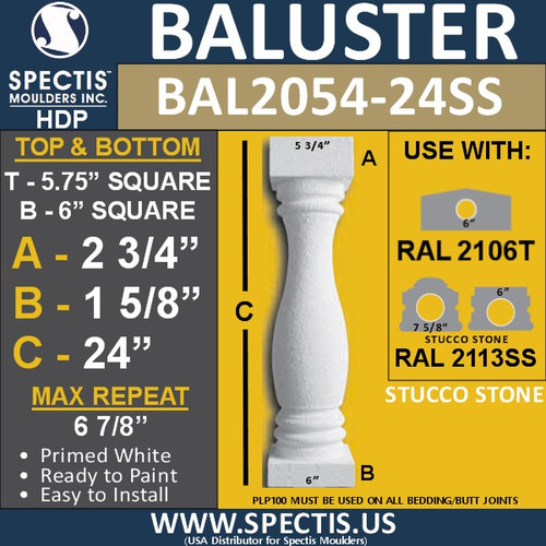 "BAL2054-24SS Stucco Stone Finish Urethane Baluster 5 3/4"" x 24"""