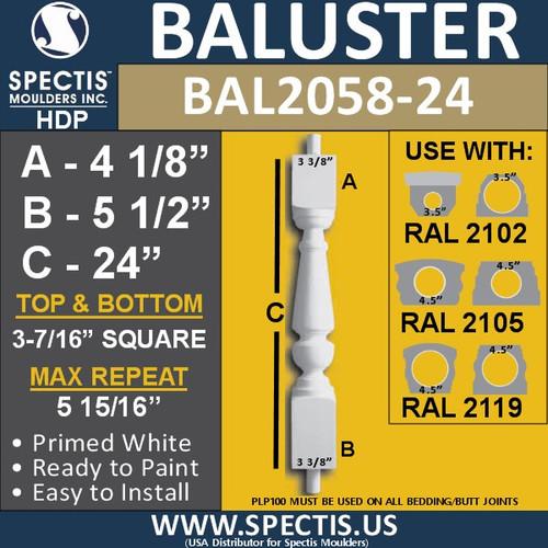 "BAL2058-24 Spectis Urethane Railing Baluster 3 5/8"" x 24"""