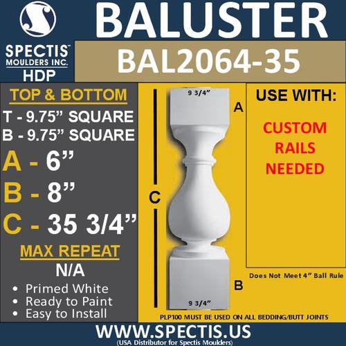 """BAL2064-35 Large Urethane Railing Baluster 9 3/4"""" x 35 3/4"""""""
