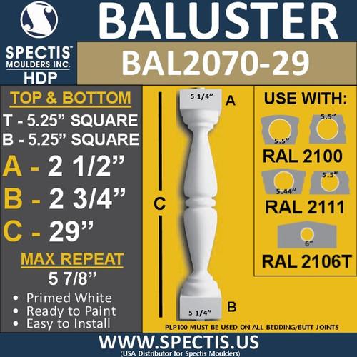 "BAL2070-29 Spectis Urethane Railing Baluster 5 1/4"" x 29"""