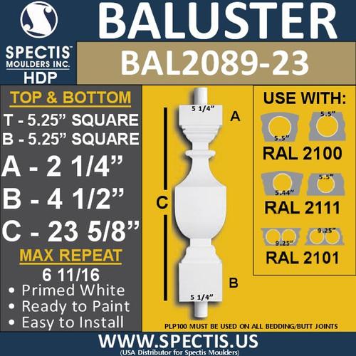 "BAL2089-23 Spectis Urethane Railing Baluster 5 1/4"" x 23 5/8"""