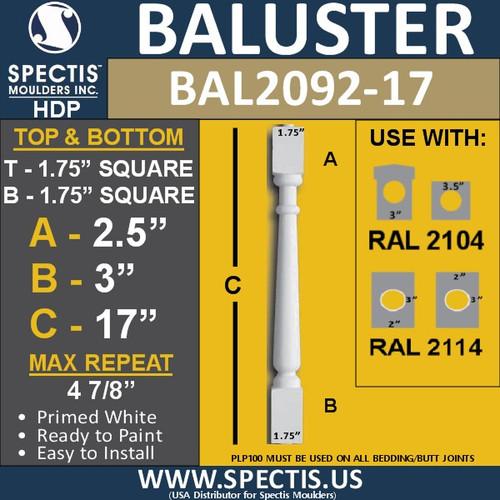 "BAL2092-17 Spectis Urethane Railing Baluster 1 3/4"" x17"""