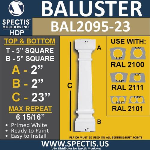 "BAL2095-23 Spectis Urethane Railing Baluster 5"" x 23"""
