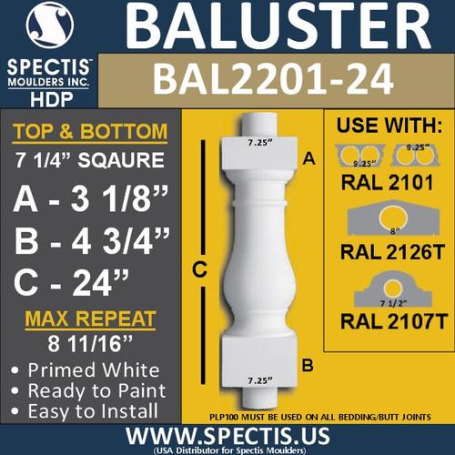 "BAL2201-24 Spectis Urethane Railing Baluster 7 1/4"" x 24"""