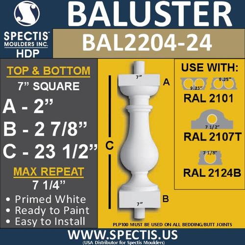 "BAL2204-24 Spectis Urethane Railing Baluster 7"" x 23 1/2"""