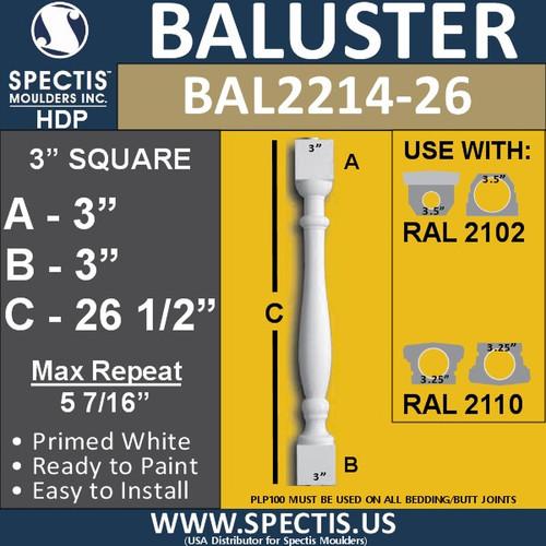 "BAL2214-26 Spectis Urethane Railing Baluster 3"" x 26 1/2"""