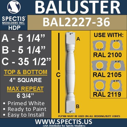 "BAL2227-36 Spectis Urethane Railing Baluster 4"" x 35 1/2"""