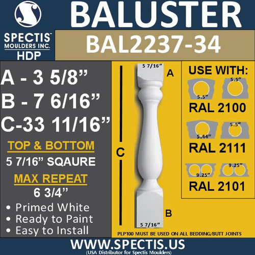 "BAL2237-34 Spectis Urethane Railing Baluster 5 7/16"" x 33 11/16"""